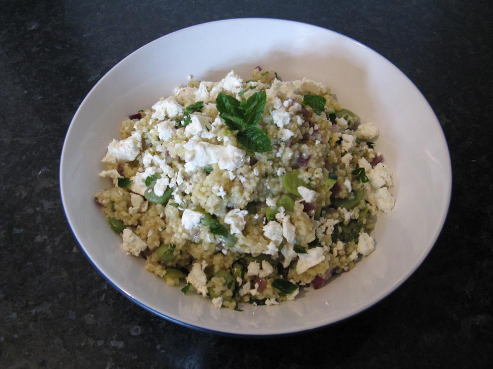 Recipe: Broad Bean & Courgette Bulghur Salad
